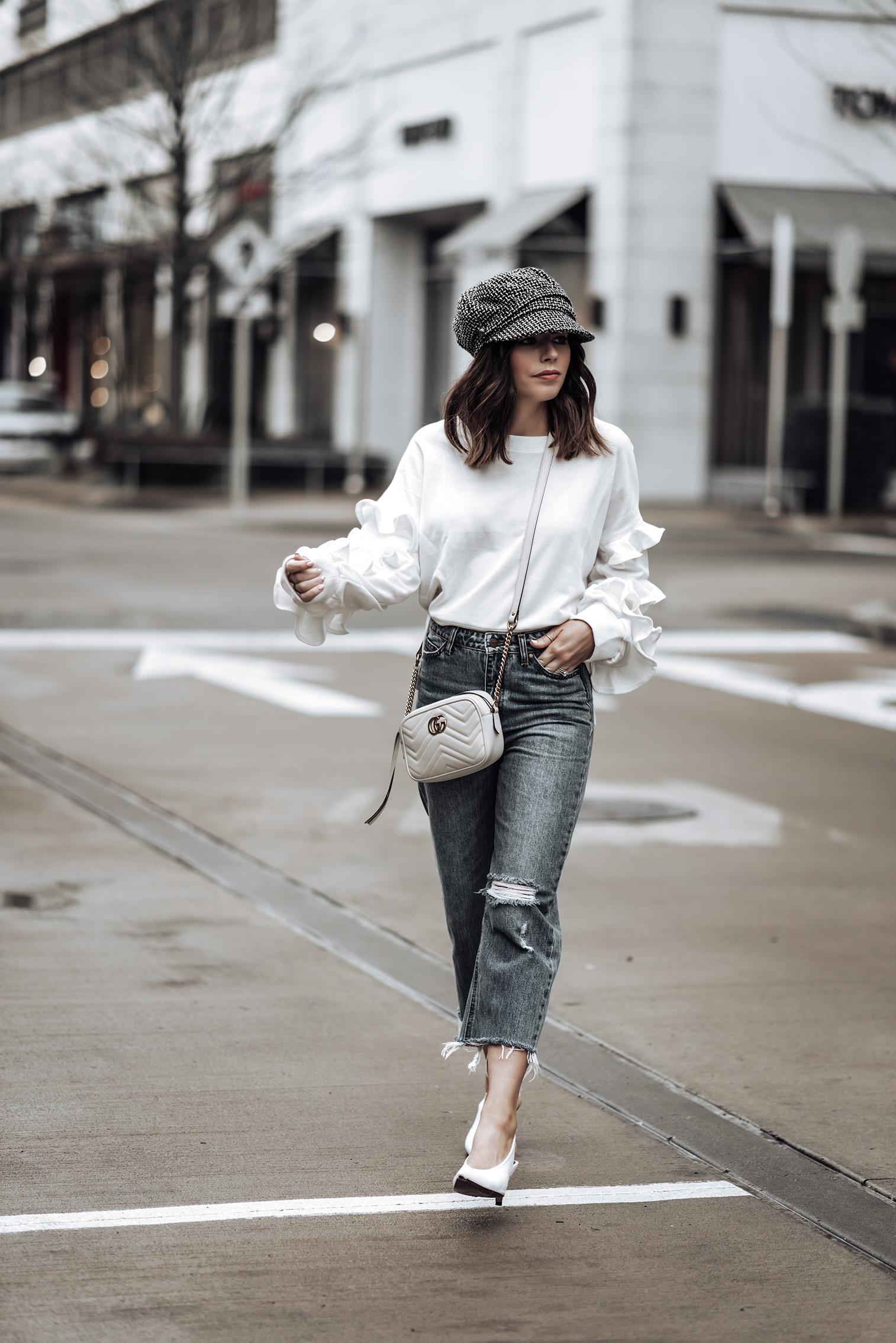 Ruffle details |Ruffle Sleeve Terry Pullover (similar) | Gucci GG Marmont bag | Jeans (similar) | Tweed Baker's Boy Cap | White Slingback Heels #bakerhat #liketkit #slingbackheels #streetstyle