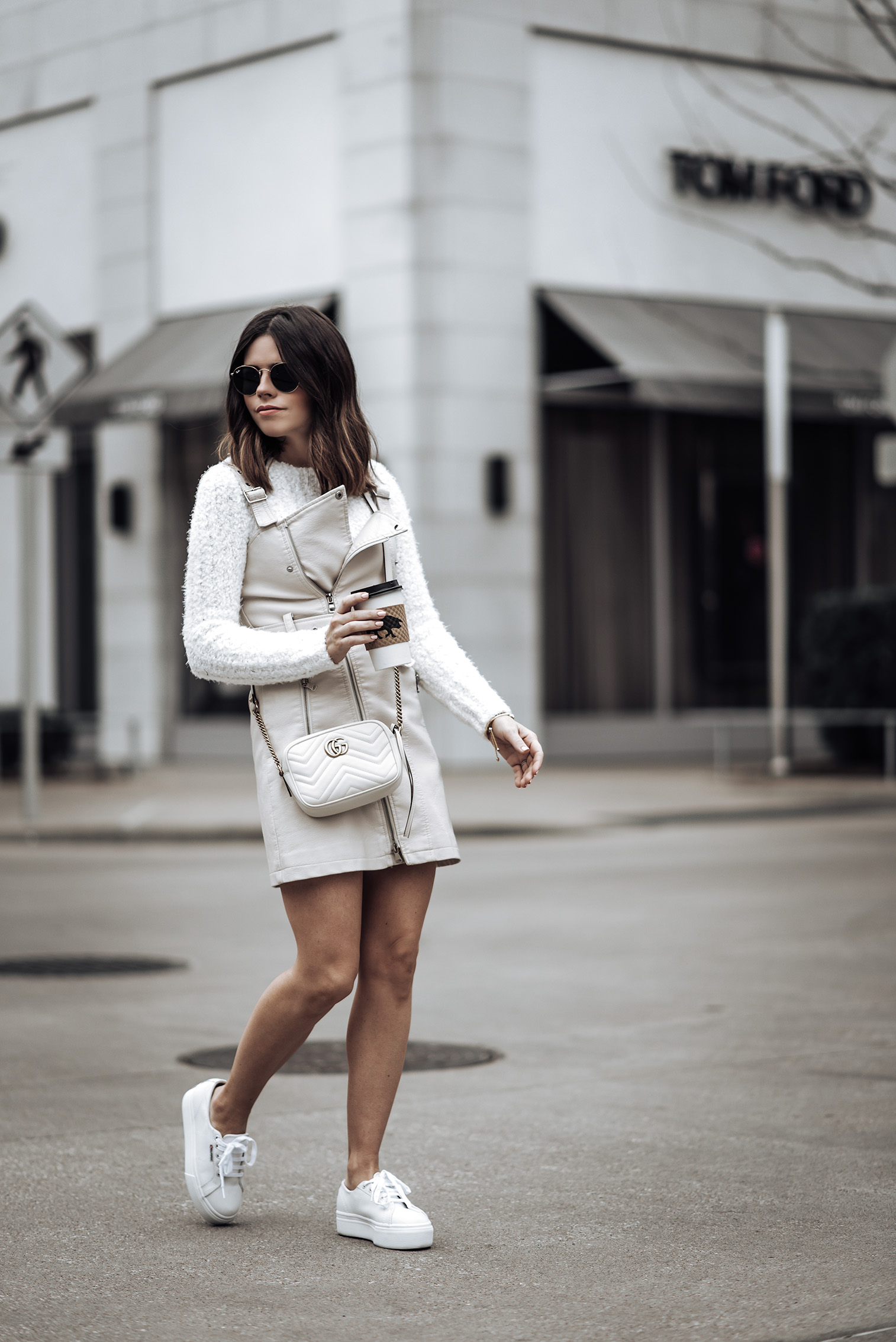 Eva Biker Mini Dress Size small | Fuzzy Knit Sweater (runs small, wearing a medium) | Superga Platform Sneakers | GG Marmont Gucci Bag | Sunnies #streetstyle2018 #sneakeroutfits