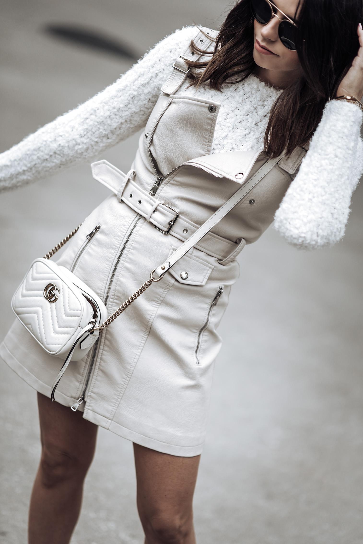 Eva Biker Mini Dress Size small | Fuzzy Knit Sweater(runs small, wearing a medium) | Superga Platform Sneakers | GG Marmont Gucci Bag | Sunnies #streetstyle2018 #sneakeroutfits