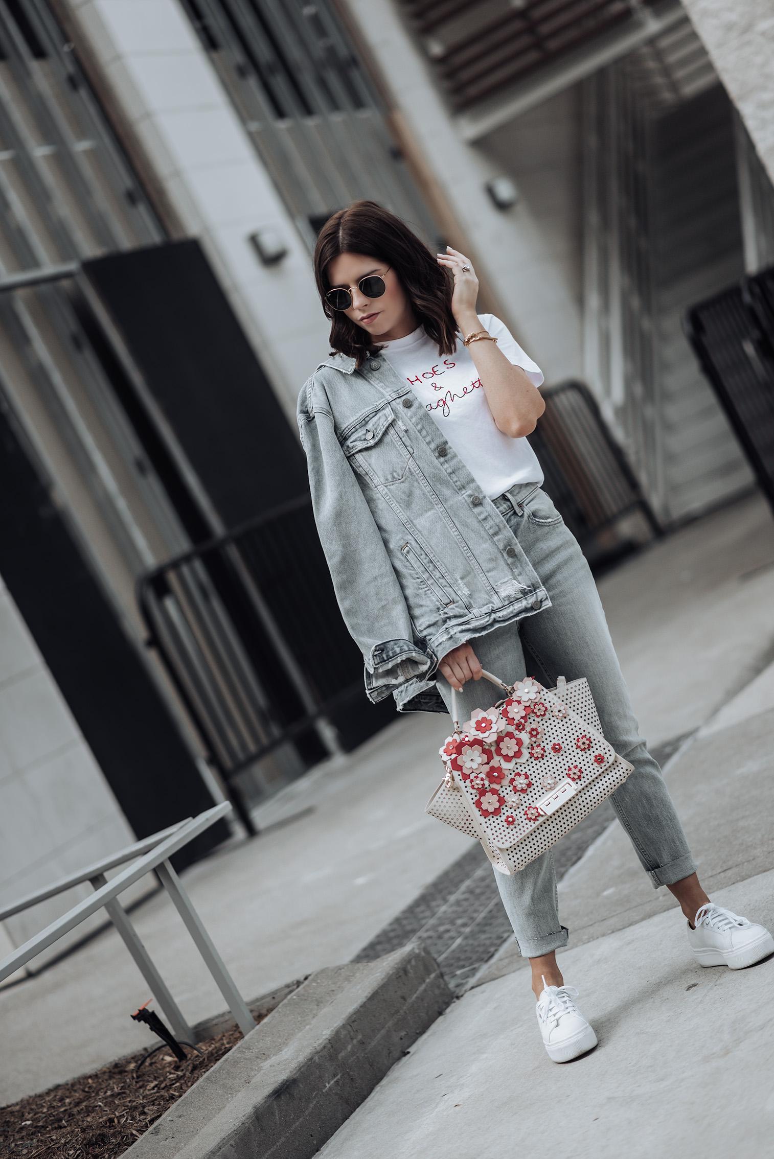 {C/O} GRLFRND Karolina Jeans   {C/O}GRLFRND Daria Denim Jacket   Zac Posen Bag   Shoes & Spaghetti T-Shirt   Superga Platform Sneakers   #streetstyle #liketkit #Revolve #denimoutfits