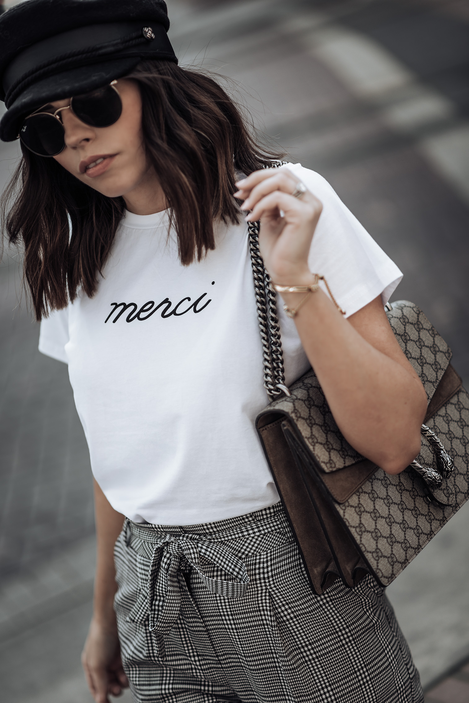 Check print | Merci Beaucoup tee | Check pants (Topshop, similar here) | Cap | Superga Platform sneakers | Gucci Dionysus #streetstyle #checkprint #sneakeroutfits #bakershat #liketkit #shopstyle