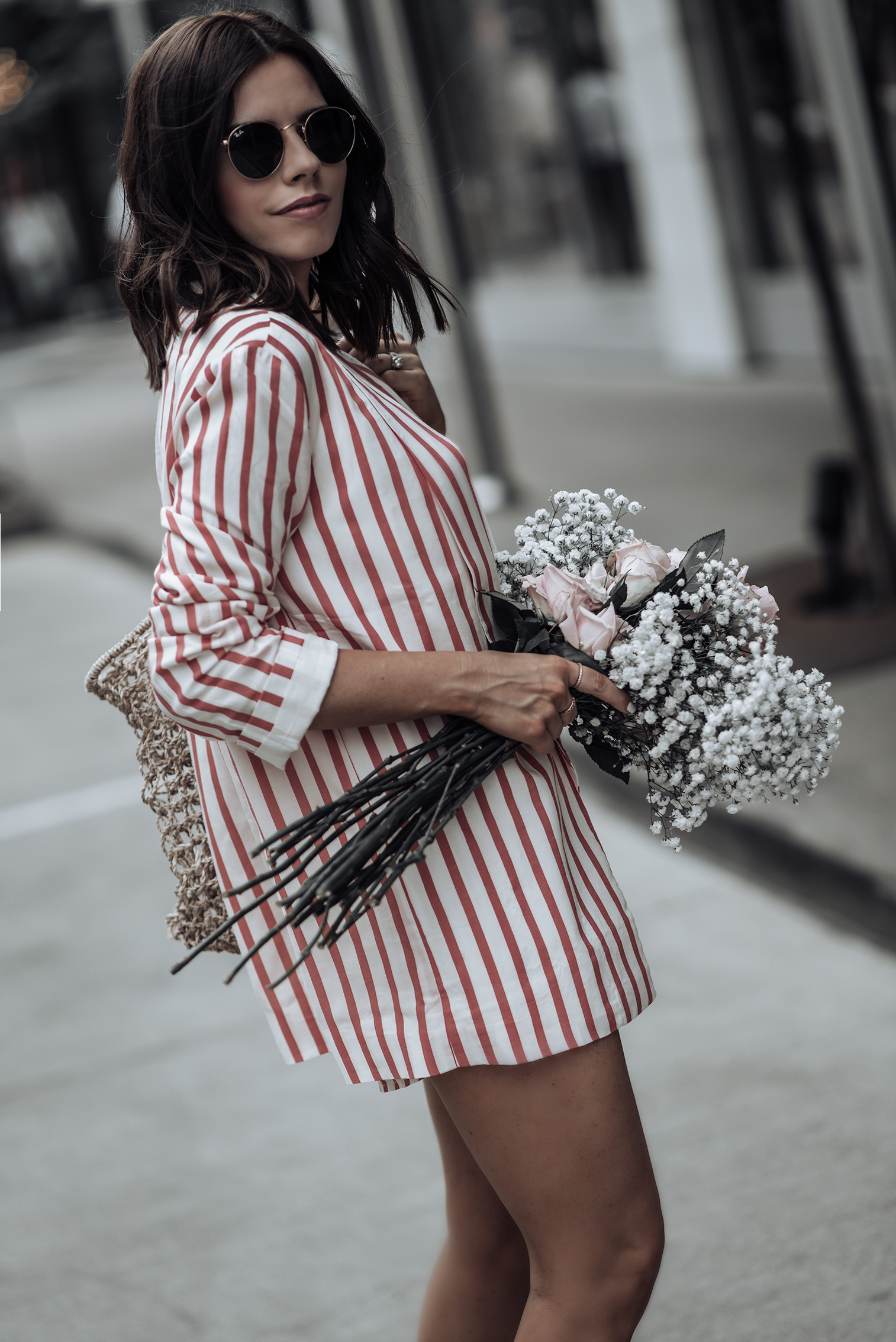 Striped Blazer set | L'Academie Adam Shorts | L'Academie Adam Blazer | Reformation bag | Superga Platform Sneakers | Bracelets: Here, & here | #liketkit #revolve #strawbag #lookbook #fashion #streetstyleblog