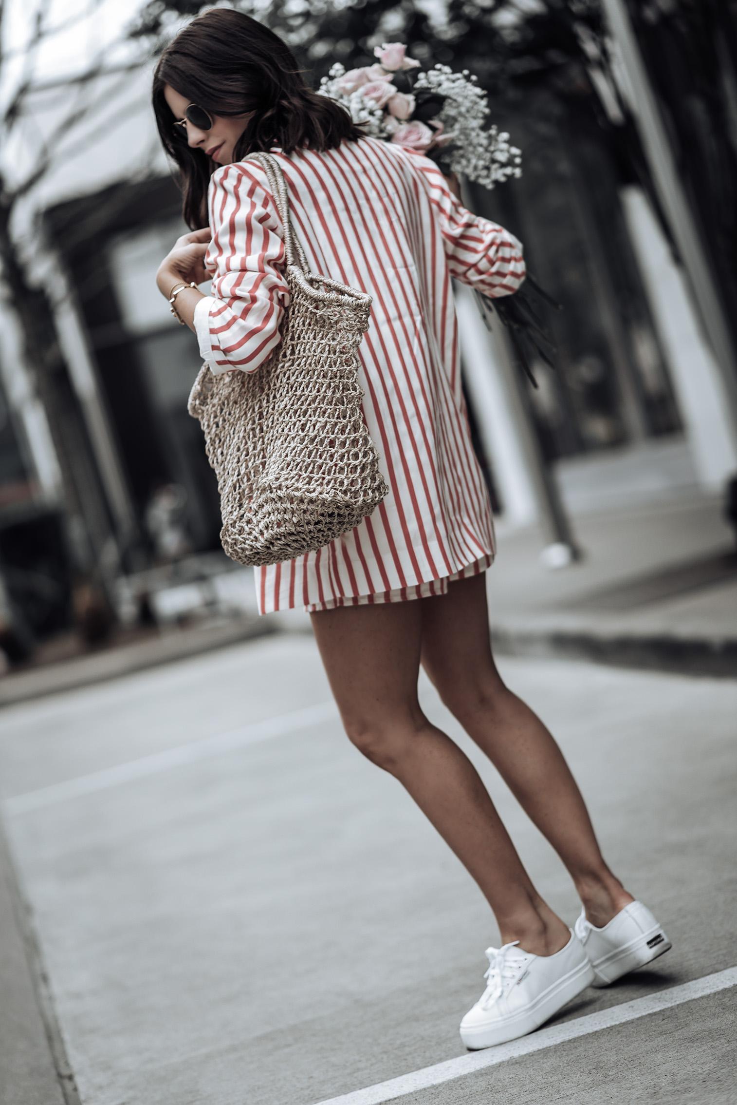 Striped Blazer set | L'Academie Adam Shorts | L'Academie Adam Blazer | Reformation bag | Superga Platform Sneakers| Bracelets: Here, & here | #liketkit #revolve #strawbag #lookbook #fashion #streetstyleblog