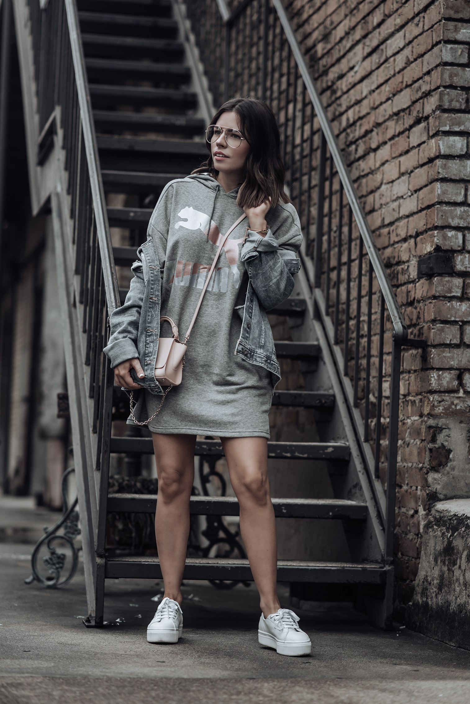 Athleisure wear |Puma Sweatshirt dress | Denim jacket #streetstyle #puma #liketkit