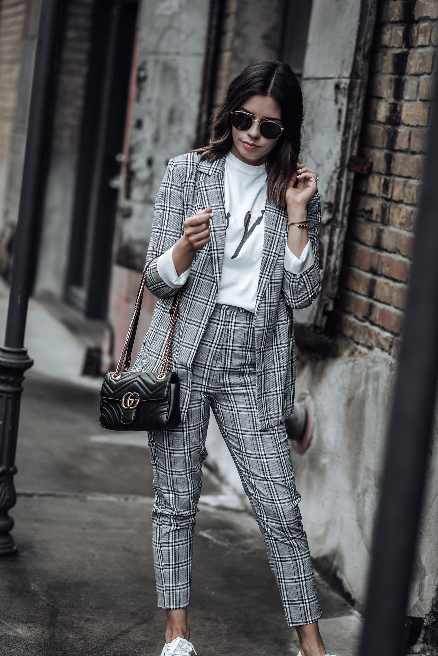Checked Longline Blazer | Grey Check print | Checked Print Pants | Superga Platforms | Les Girls Tee | Mini GG Marmont #streetstyle2018 #womenssuit #graphictee #minimalistblogger #minimal