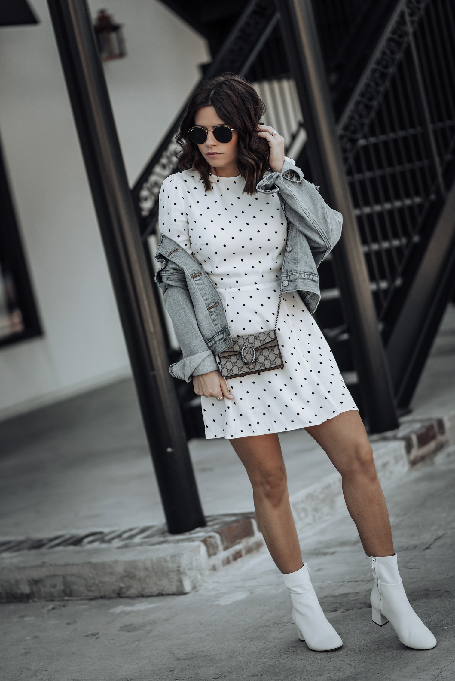 Dot Dress by Reformation | Levi's Ex Boyfriend Denim Jacket | H&M White Ankle Boots | #liketkit #polkadot #streetstyle