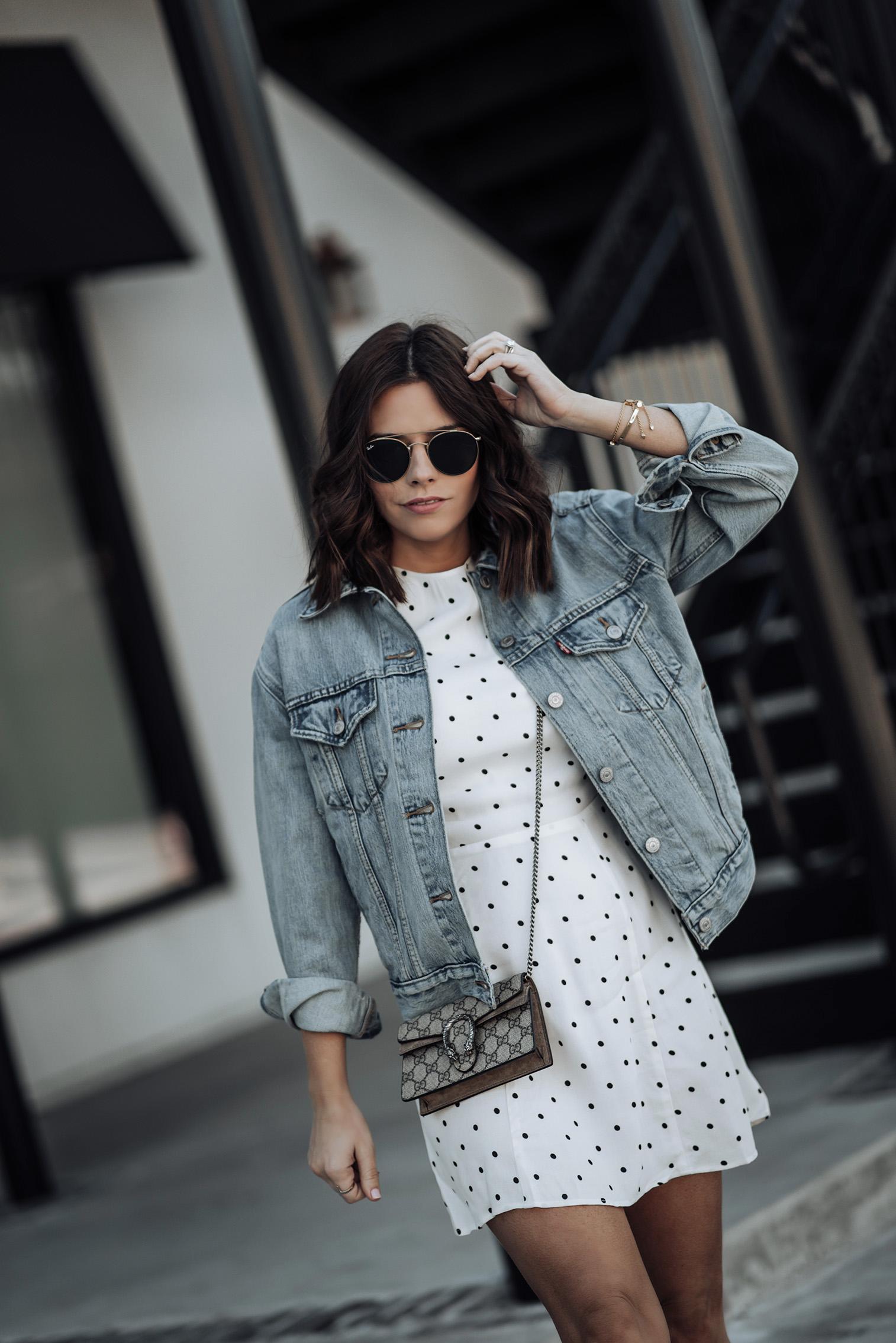 Dot Dress by Reformation | Levi's Ex Boyfriend Denim Jacket | H&M White Ankle Boots | #liketkit #polkadot #streetstyle