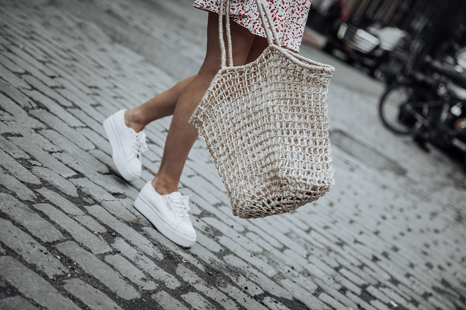 Flynn Skye Mini Dress | Superga Platform Sneakers | Knit Market Bag (Similar) | #liketkit