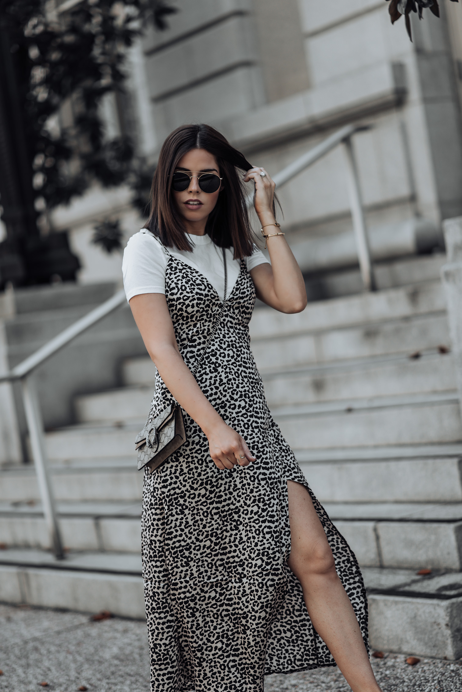 Leopard |Gucci Mini | Leopard Print Slip Dress | Perfect Fit Tee | Superga Platform Sneakers | #liketkit #streetstyle #gucci #casualoutfits