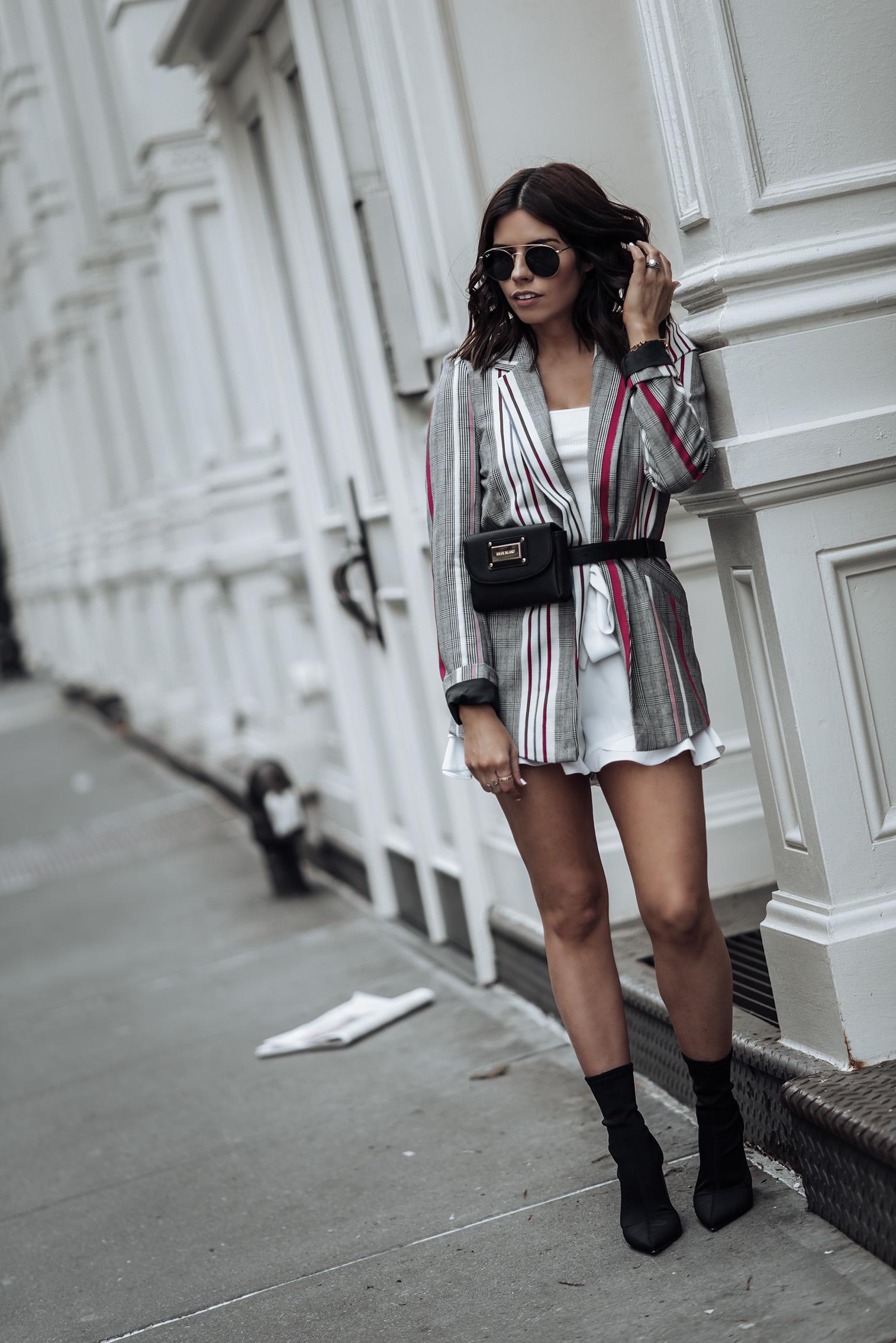 River Island Chic  Striped Blazer   White Frill Shorts   #liketkit #riverisland #anklesockboots #bumbag