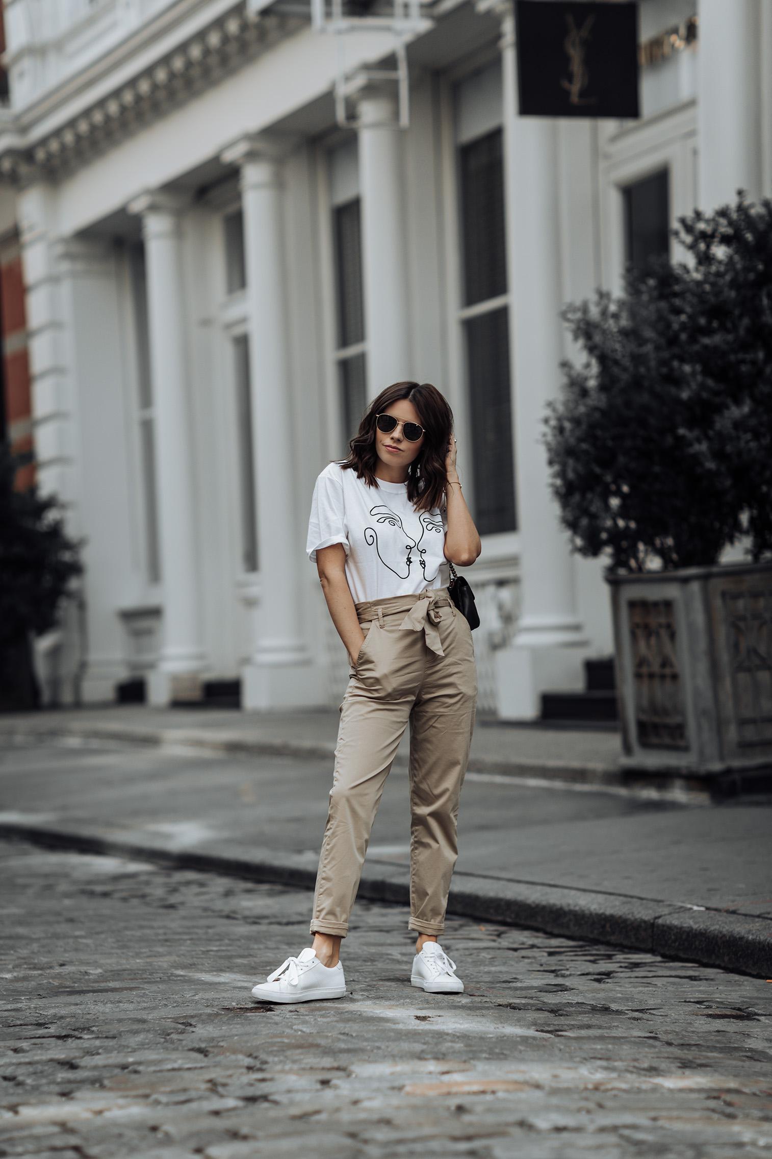 Stradivarious Plain Tie Waist Pants | ASOS Graphic Tee | Greats Brand Sneakers | Gucci Bag #streetstyle #liketkit #ASOS #paperbagpants