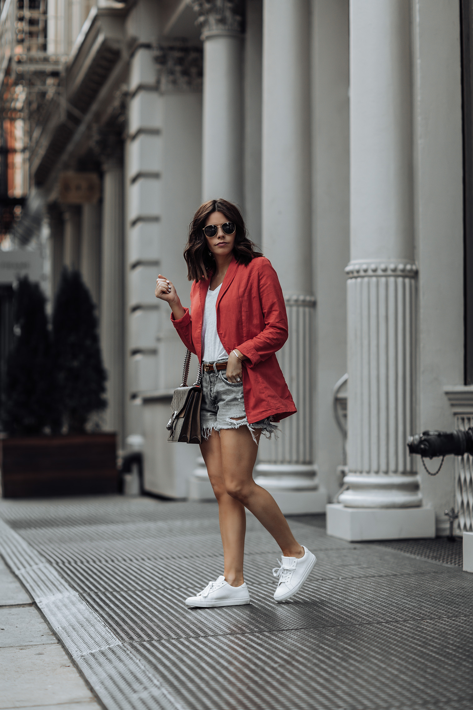 Casual | LIONESS Femme Fatale Blazer in Red | AGOLDE Parker Vintage Cut Off Short in Swampmeet | Gucci Dionysus Bag (smaller version here) | Greats Royal Low Top Sneaker | Gucci Double-G Buckle in Brown Leather #liketkit #revolve #greats #ootd