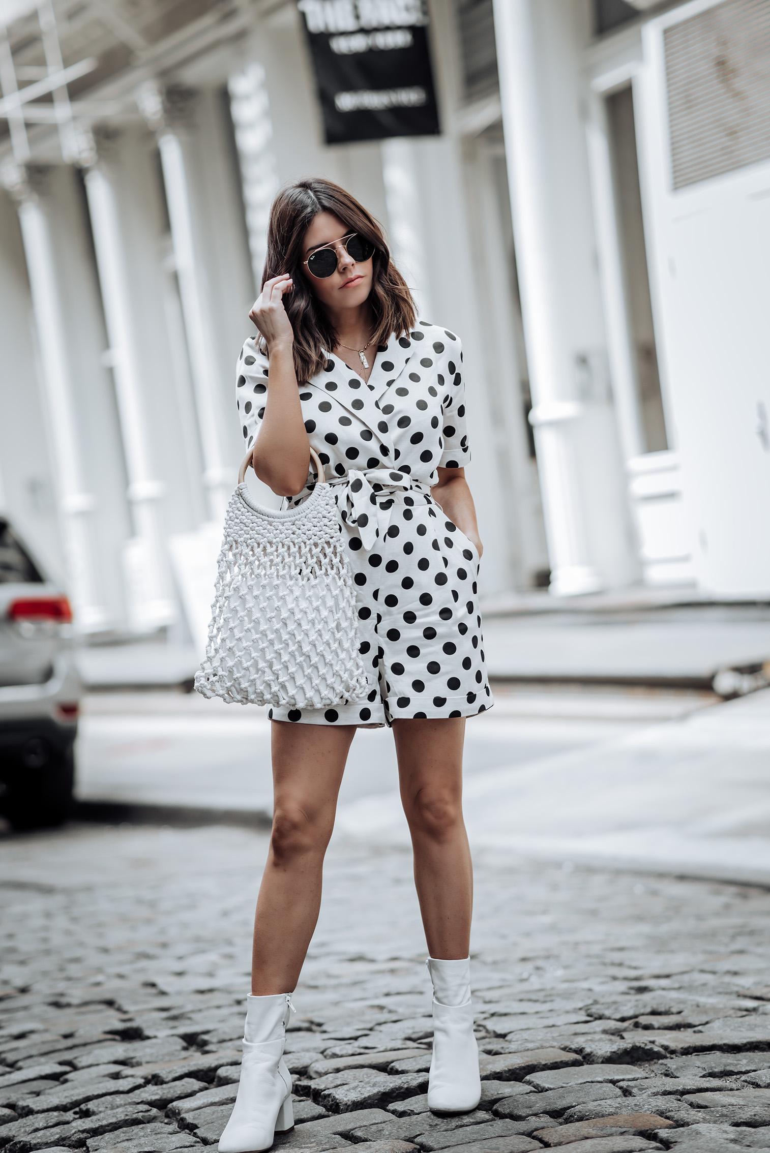 Polka Dot Romer via TOPSHOP   Ankle Boots   Handbang  #topshopstyle #streetstyle #polkadotoutfits