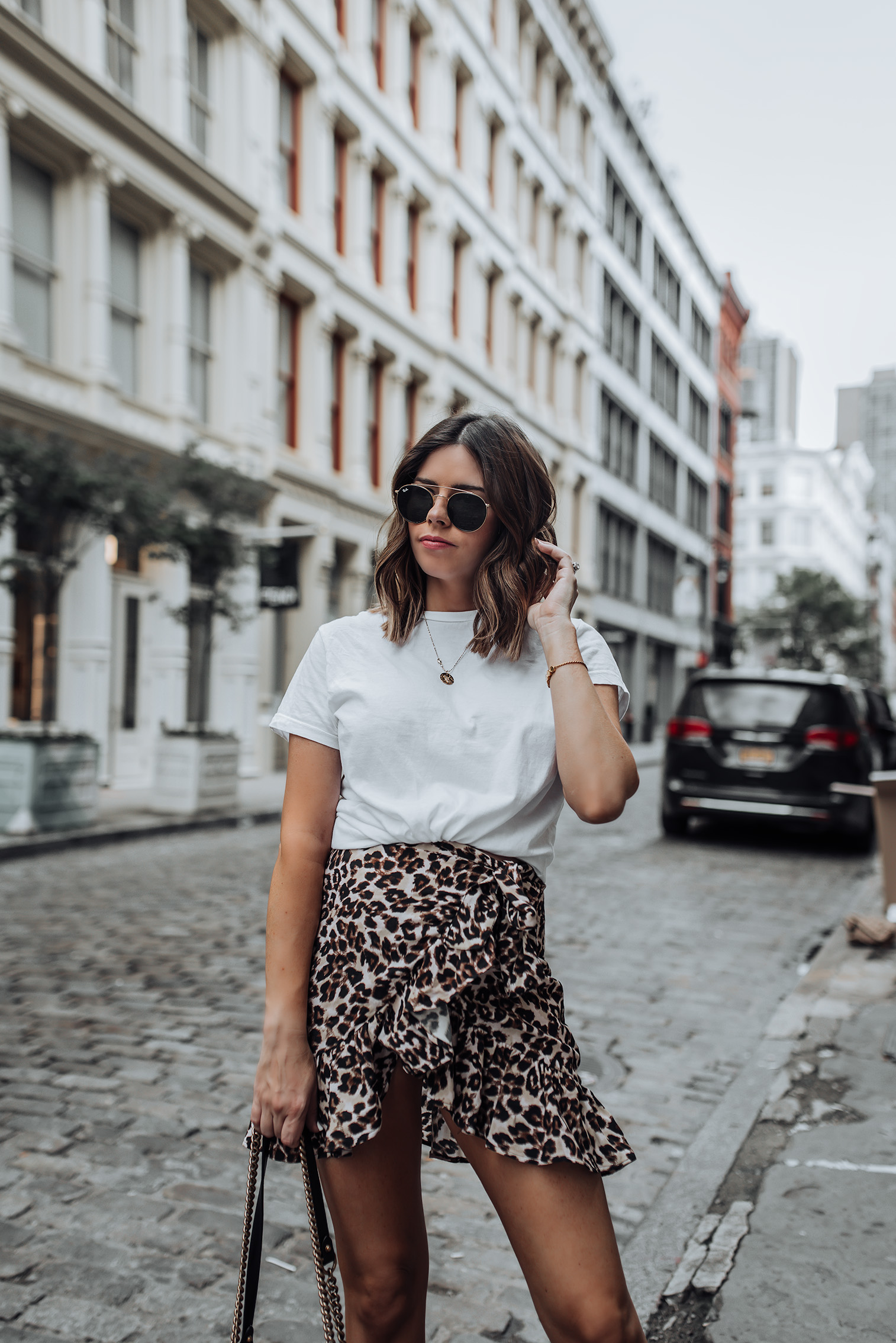 Leopard Skirt (via Urban Outfitters, similar here) | Gucci Bag | #leopardoutfits #gucci #bikerboots #streetstyle