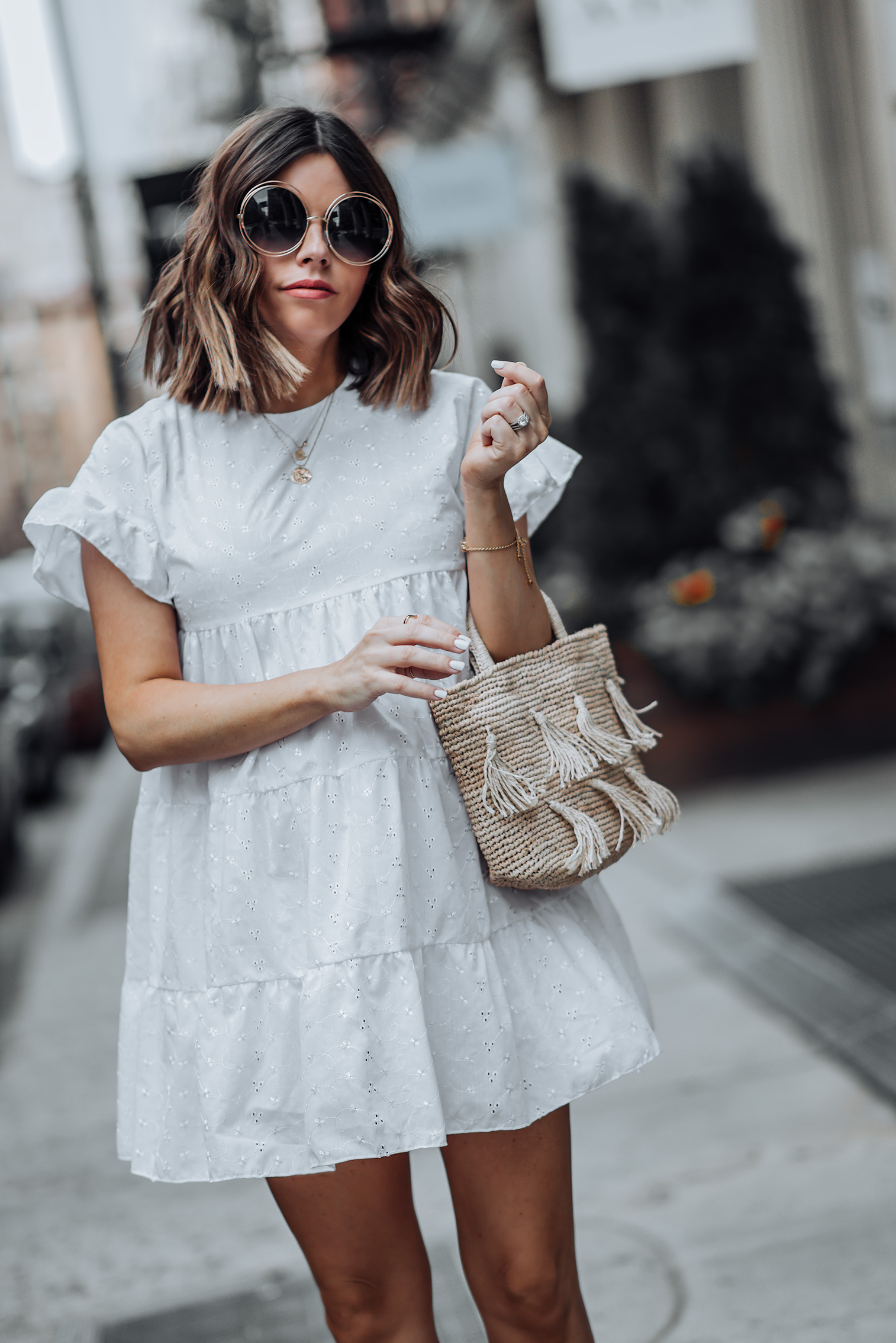 Babydoll dress   Tassel Bag   Sunnies   #liketkit #LWD #casualoutfits #streetstyle