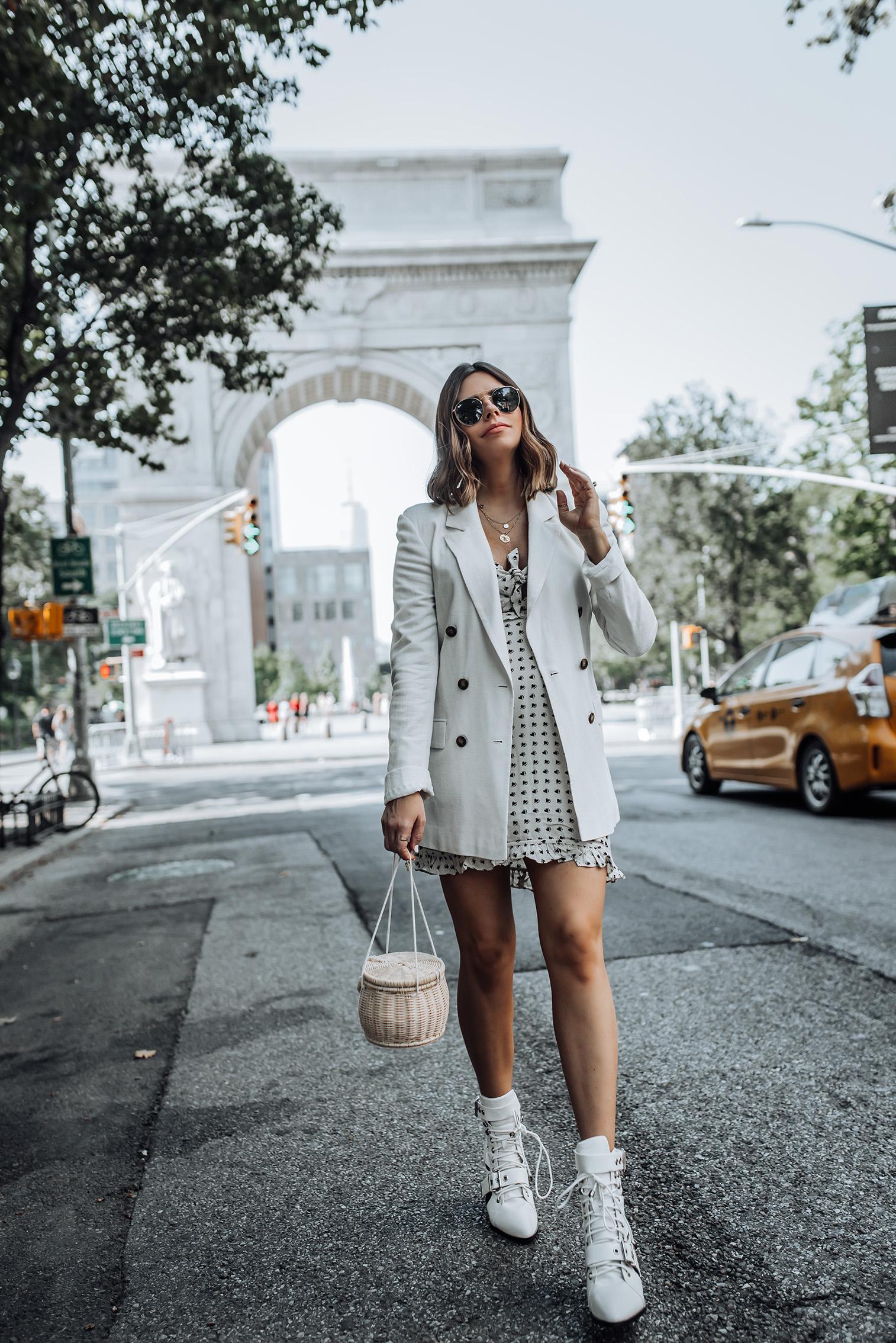 For Love & Lemons Sweetheart Mini Dress   Linen Blazer   ZARA Handbag   Leather Booties #liketkit #blazeroutfits #zara #streetstyle