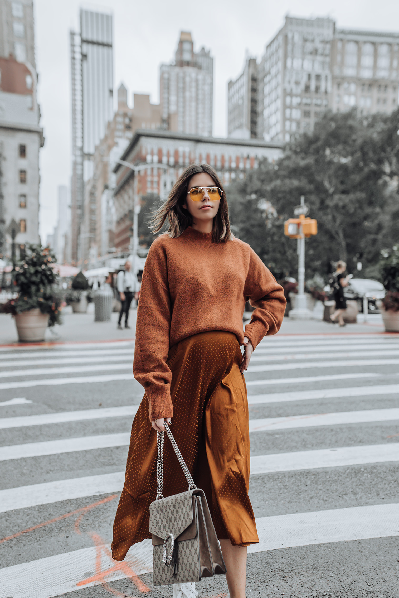 Fall tones | Midi Dress | Mock Neck Sweater | Gucci Bag | Glasses #streetstyle #ootd #liketkit #gucci