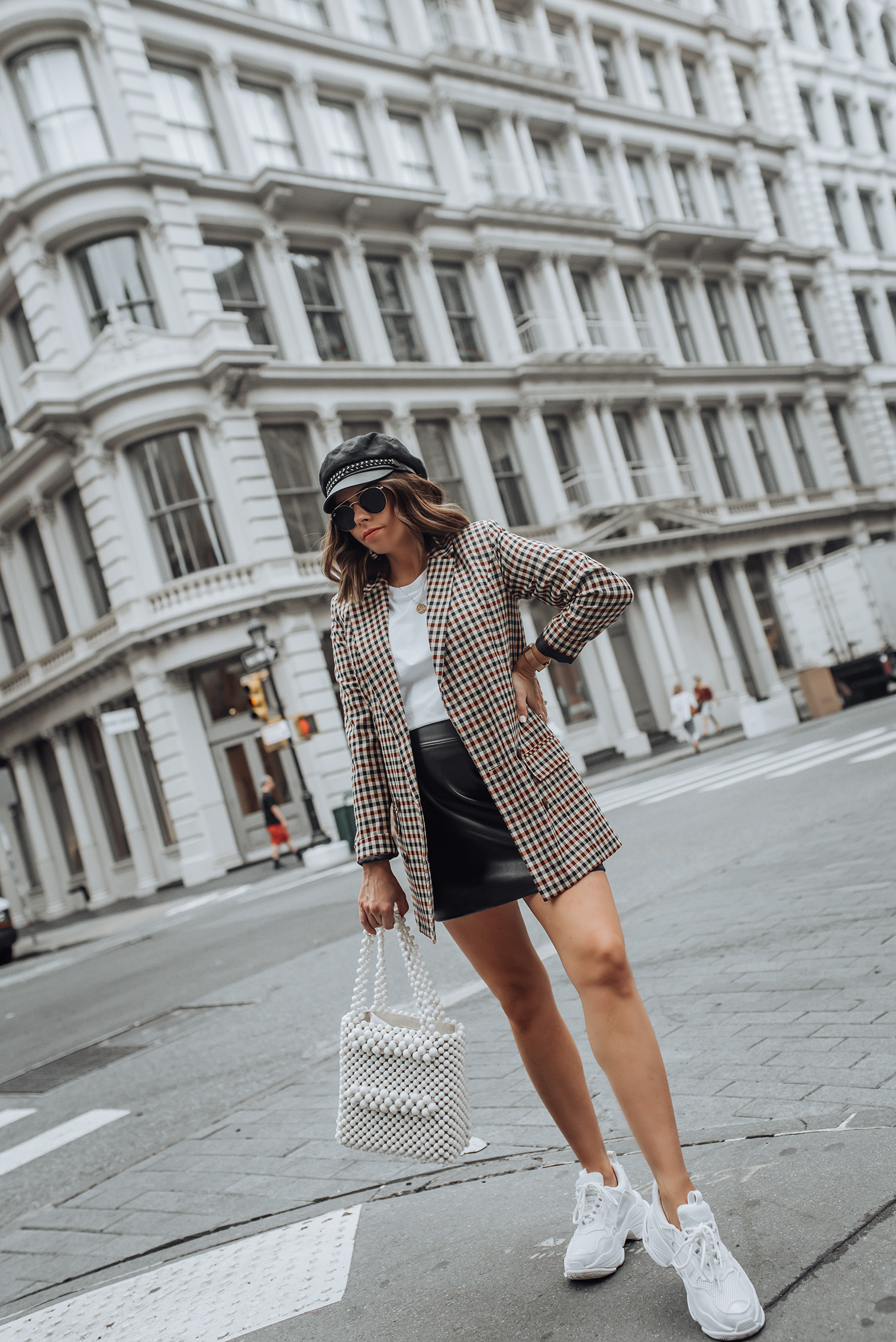 NYFW Check print  Check Blazer   H&M Skirt   Beaded Handbag   Lo Fi Sneaker #streetstyle #ootd #asos #checkprint