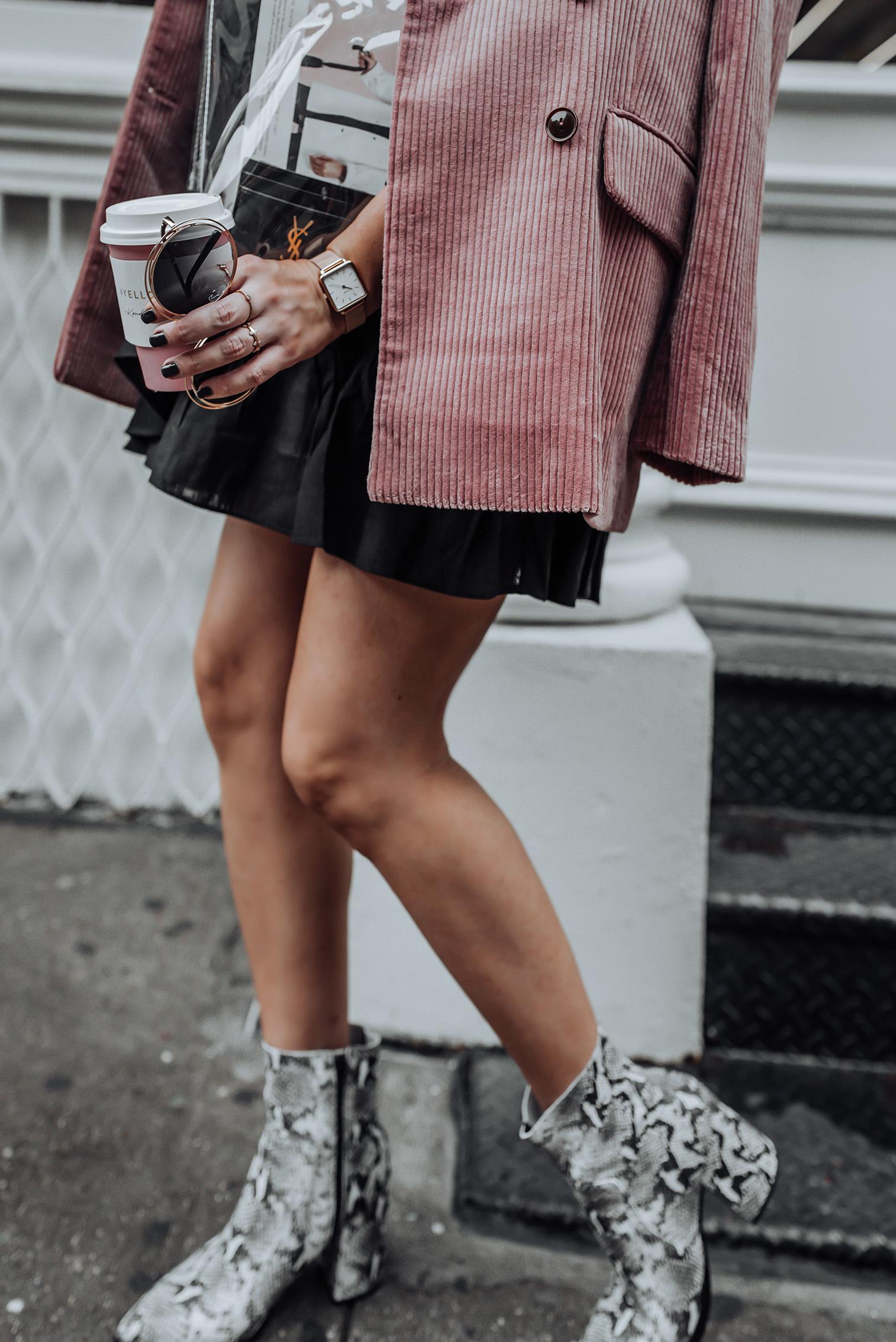 Corduroy Blazer via Mango   Ruffle Wrap Skirt   Tony Bianco Brazen Bootie  