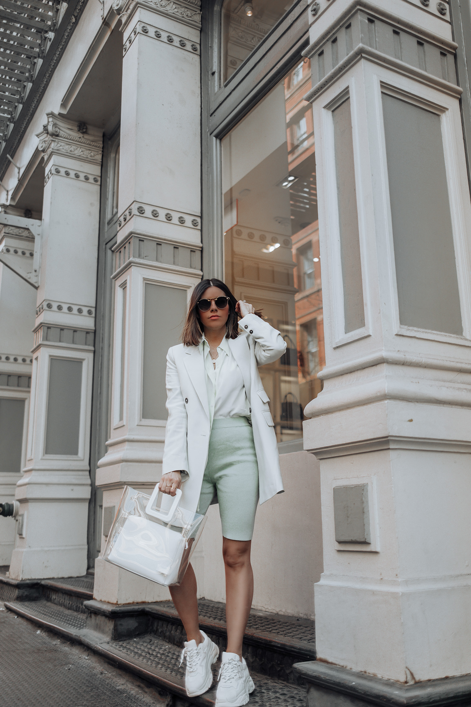 Happy Friday loves! Pastels are coming in hot this spring! I'm seriously obsessed with this structured blazer from Mango and wear it all the time! It's such a pretty pastel color and I love how it's a bit oversized as well. #streetstyle #bikershorttrend #fashionblog #liketkit
