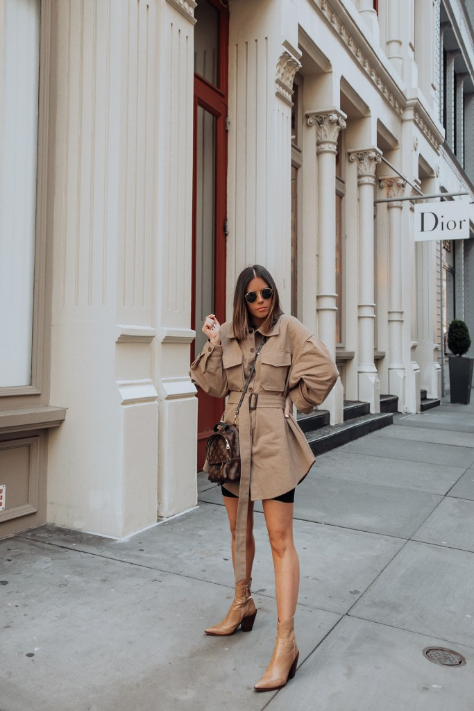 Belted Jacket via Storets | LV Mini Palm Springs Backpack | Western Boot | Biker Shorts   Happy Thursday! So excited to share this wrap jacket with you guys today! The belted jacket trend is huge right now and I love this one from Storets. It's perfectly oversized and pairs really great with just a biker short underneath.