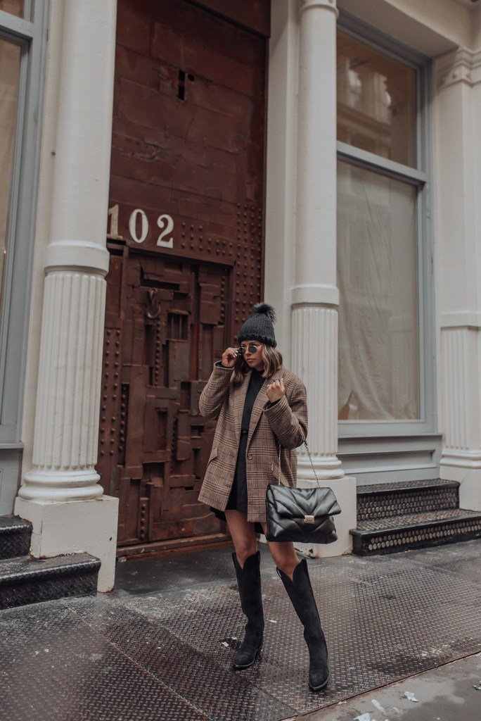 """Lucchese """"EDIE"""" Boots   Blazer   Bag (Zara, New Season)    Sweater Dress (Chiquelle) Happy Monday babes! Partnering with Lucchese today sharing these stunning boots that I can't stop wearing! This is my first pair of Lucchese boots, and they are honestly the most comfortable pair of boots. I opted for black but they come in a few different colors as well. The stone washed cognac is also really beautiful. I wear a ton of black so these will get the most wear for my wardrobe."""