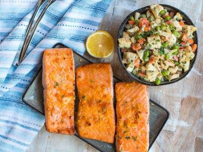 glazed salmon and salad