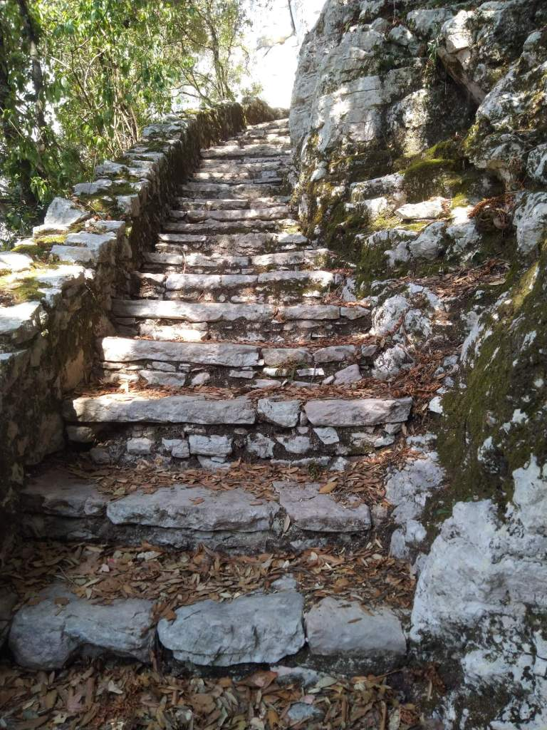 stone stairs that leads to Saint Michael Grotto in Monte Tancia