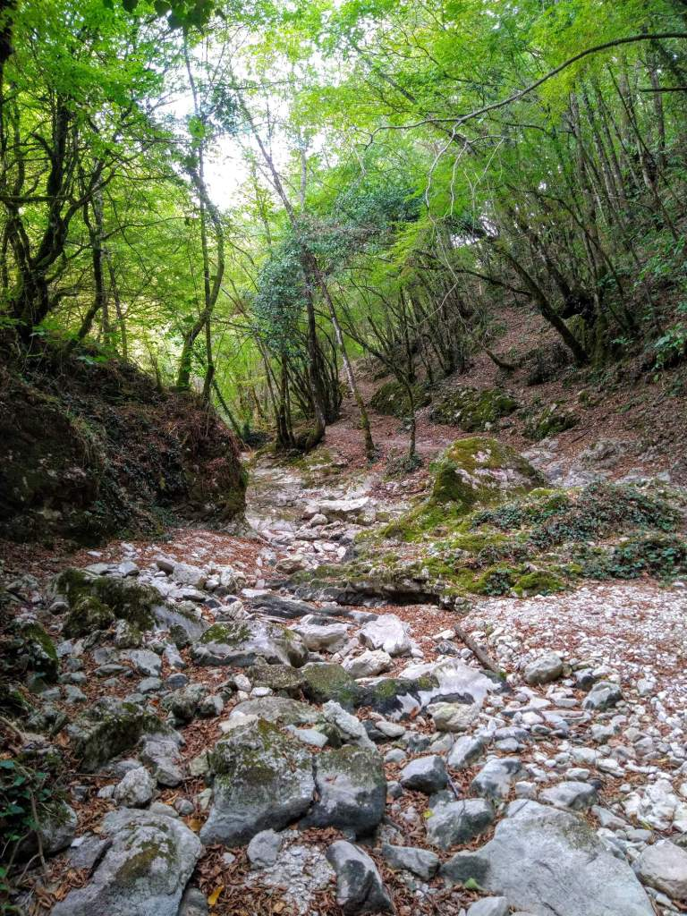 a dry river bed in Monte Tancia during September