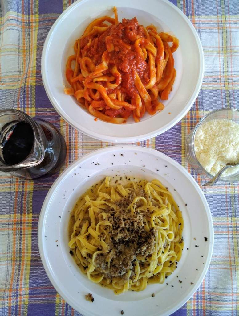 a dish of pasta with mushrooms and truffles and pasta with tomato sauce, on the side a quarter of red wine and a bowl of parmesan cheese