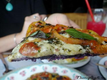 Pizza with a purple corn crust Misia Bogota