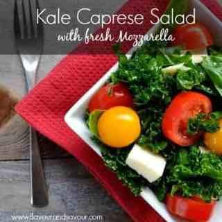 Kale Caprese Salad with Fresh Mozzarella |ww.flavourandsavour.com #caprese #kale #freshmozza