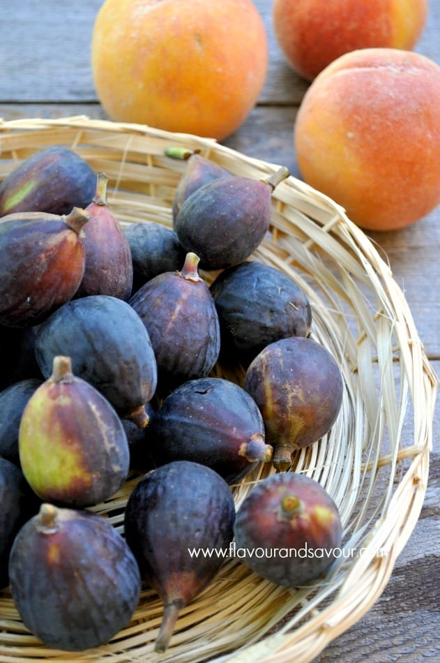 A basket of fresh Black Mission figs for fresh figs with goat cheese and honey.