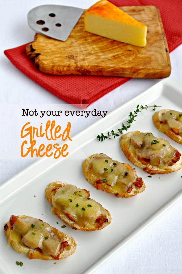Caramelized Onion, Apple and Cheese Crostini. Not your everyday Grilled Cheese! An easy make-ahead appetizer. www.flavourandsavour.com