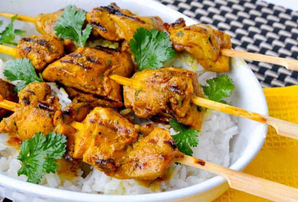 Grilled Turmeric Chicken Kabobs. Just one of 7 Delicious Ways to Add more Turmeric to your Diet.