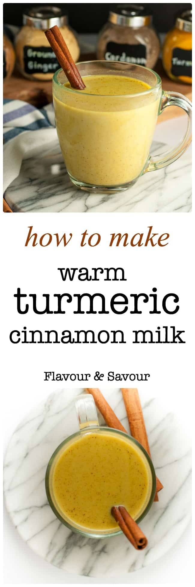 Easy instructions for how to make Warm Turmeric Cinnamon Milk, a healthy anti-inflammatory, anti-oxidant drink that may also help you sleep! Includes gift tags for Turmeric Spice Mix too. #goldenmilk #cinnamonmilk #turmericmilk #turmericmylk, #turmericspice  #howtomake