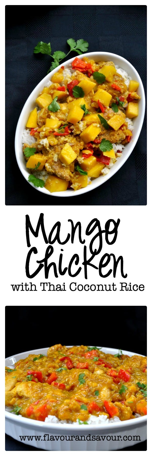 This Mango Chicken is a little sweet, a little spicy, a little sour, and a little salty, all in one mouthful. Perfectly balanced flavours make this an upscale chicken and rice dish. It's fancy enough for a dinner party but easy enough for a weeknight dinner. #thai #mango #chicken