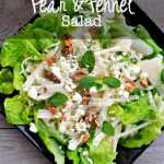 Pear and Fennel Salad |www.flavourandsavour.com Crispy sweet pears, crunchy fennel on a bed of greens, topped with your favourite cheese and nuts.