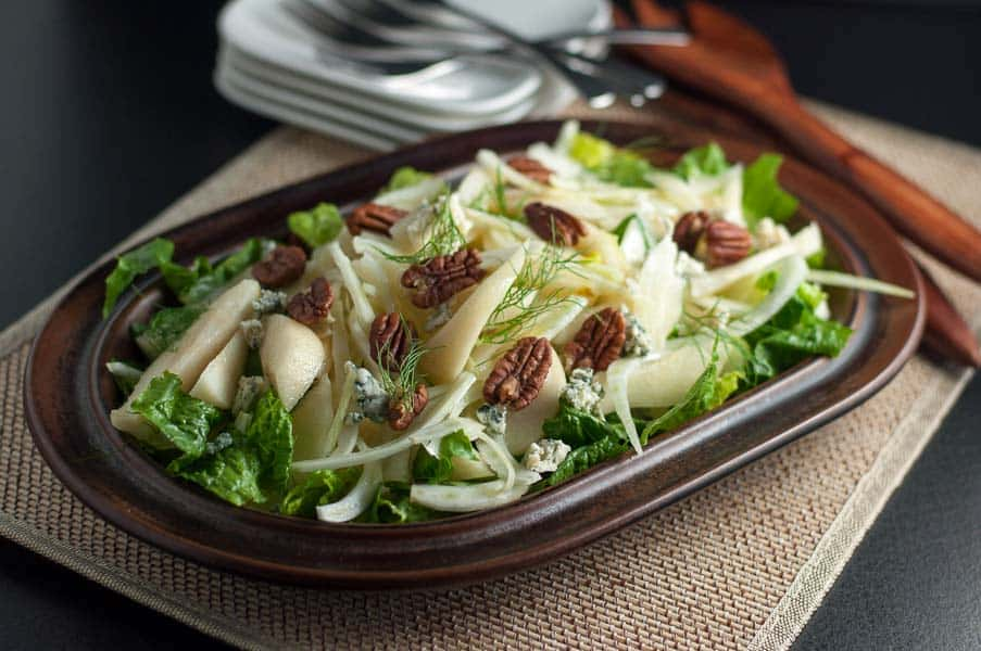 Pear and Fennel Salad. A beautiful fall or winter salad with thinly sliced fennel, crisp pears, nuts and cheese. One of 6 Tasty Healthy Winter Salads from Flavour and Savour.