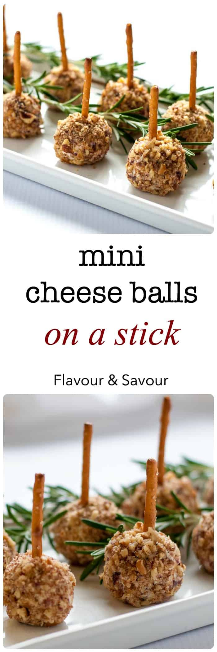 Mini Cheese Balls on a Stick--fun finger food! A tiny bite on a pretzel stick. Easy to make gluten-free, too! VIDEO instructions.