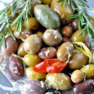 Warm Rosemary Olives with Lemon --an easy and delicious starter. |www.flavourandsavour.com