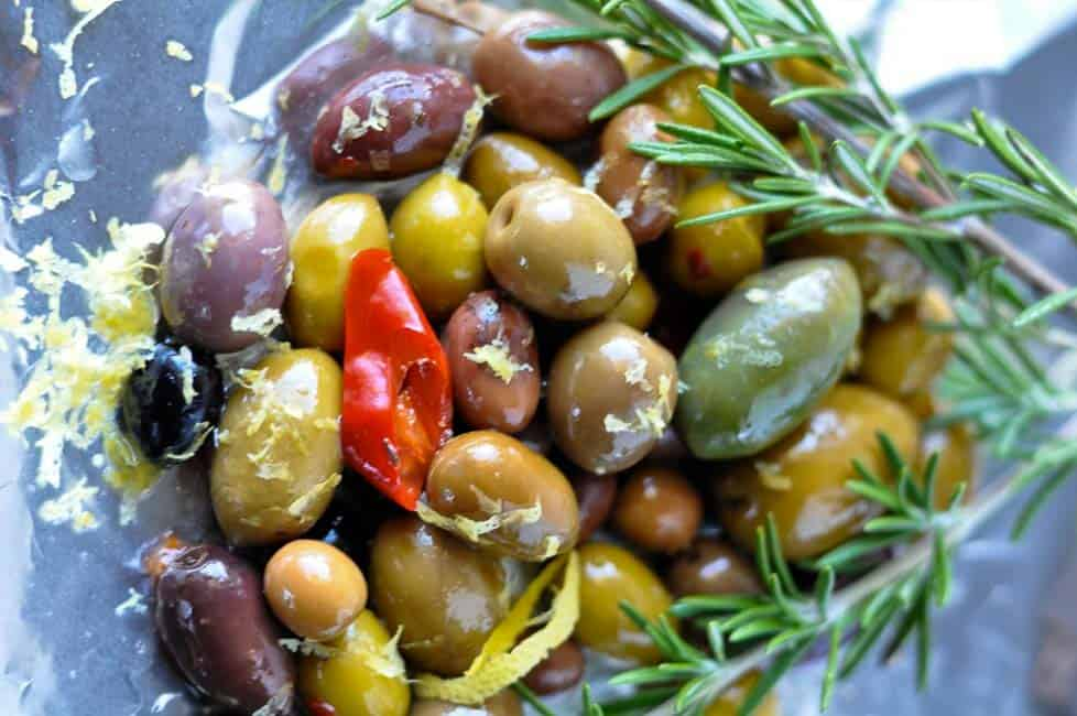 Warm Rosemary Olives with Lemon close up view