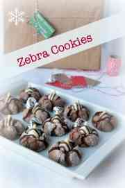 Zebra Cookies. Rich chocolate cookies with a striped Hershey's Hug in the middle.  www.flavourandsavour.com