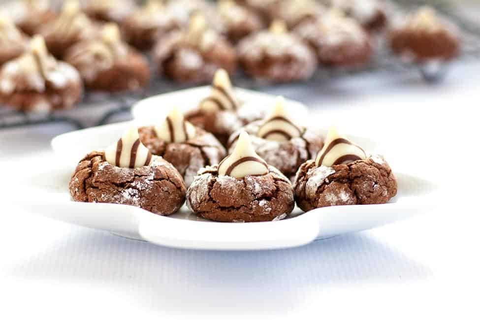 Zebra cookies are a rich chocolate cookie with a Hershey's Hug pressed in the middle.