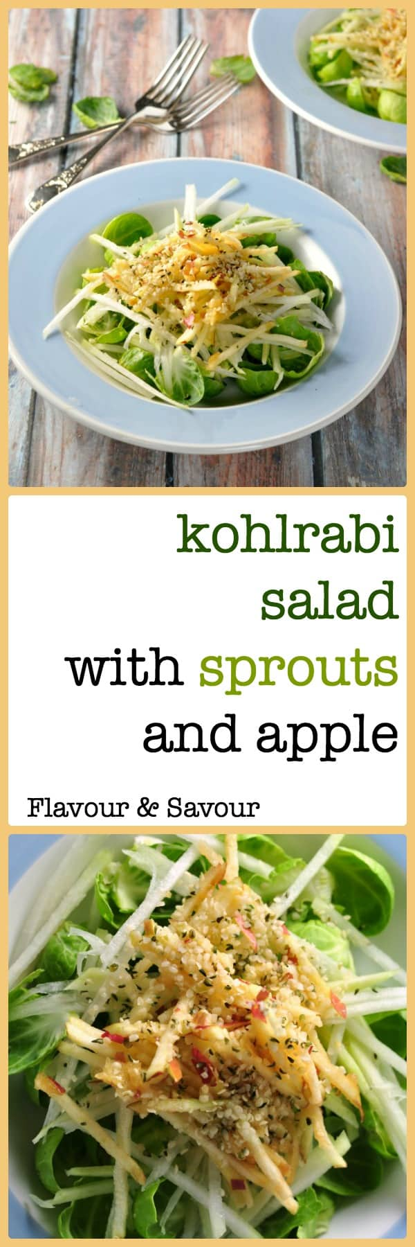Crisp Brussel sprout leaves, crunchy kohlrabi and sweet juicy apple give all the freshness of a summertime salad on a winter day in this Kohlrabi Winter Salad.