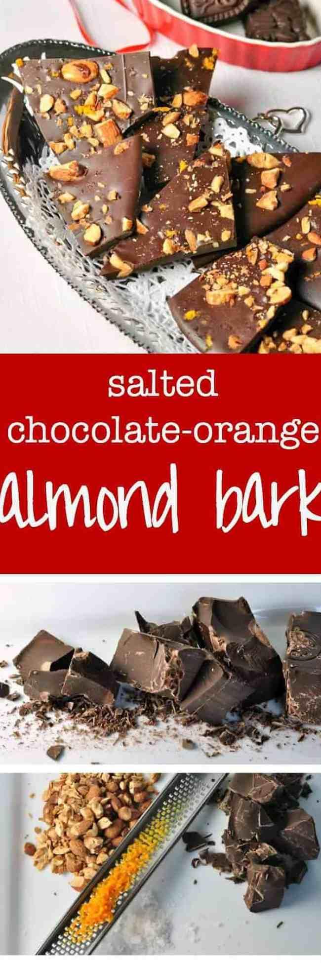 Salted Dark Chocolate Orange Almond Bark.