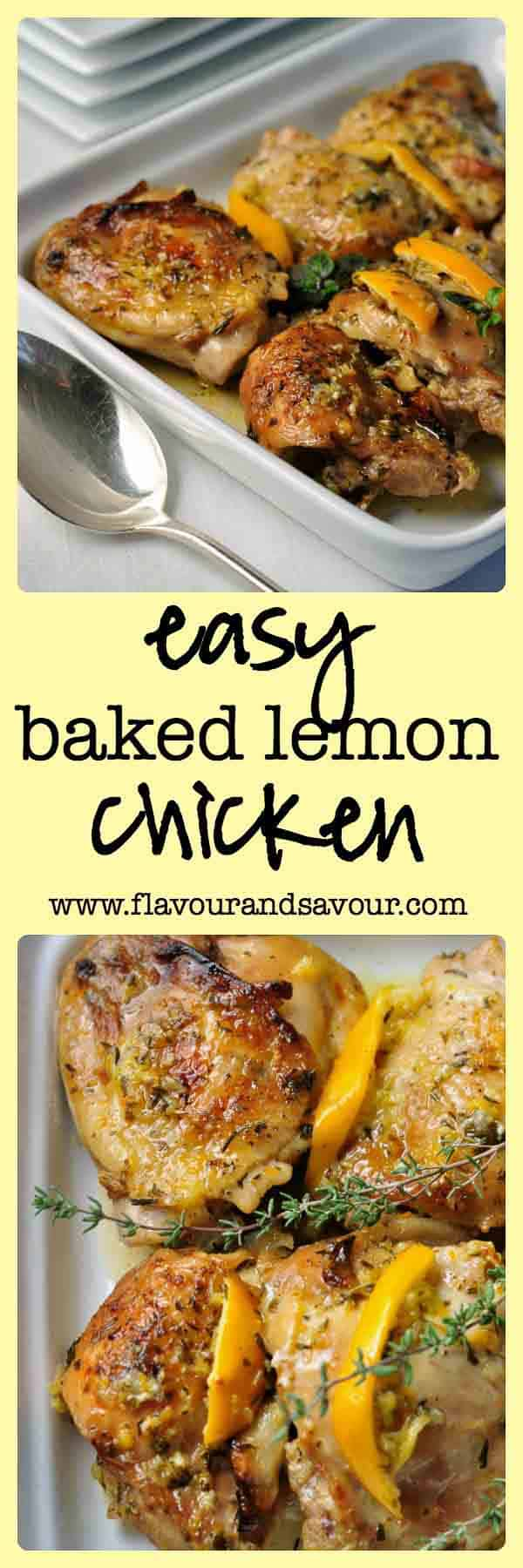 Easy Baked Lemon Chicken. Easy one-pot paleo dish that quickly became our family favourite. Fresh lemons, herbs and garlic make this easy Baked Lemon Chicken dish a quick weeknight meal and will have you dreaming of the sun-drenched Mediterranean.