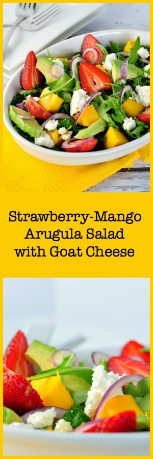 This Strawberry-Mango Arugula Salad with Goat Cheese combines fresh sweet strawberries, mango, spicy arugula, creamy avocado and goat cheese and is drizzled with a flavourful citrus vinaigrette.