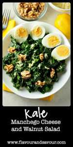 Get the recipe for this healthy Kale, Manchego Cheese and Walnut Salad. Six tips for preparing Kale Salads to convert even the most ardent kale-hater!|www.flavourandsavour.com