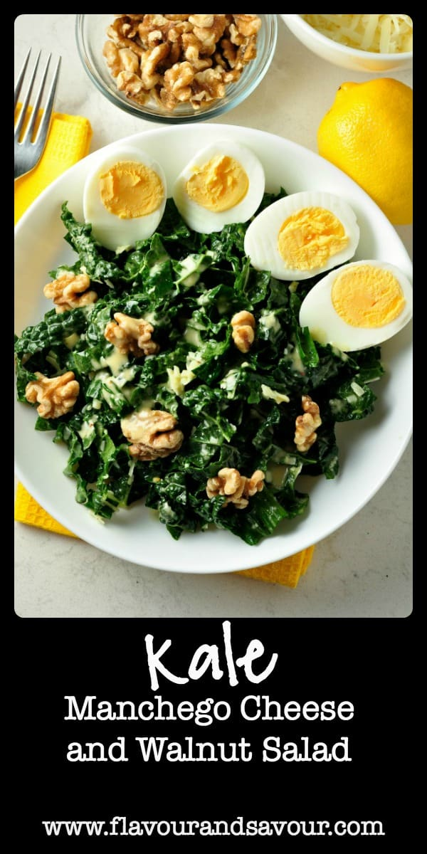 Get the recipe for this healthy Kale, Manchego Cheese and Walnut Salad. Six tips for preparing Kale Salads to convert even the most ardent kale-hater! www.flavourandsavour.com